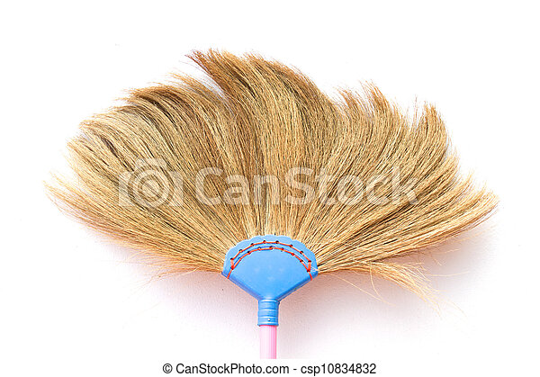 broom on white background - csp10834832