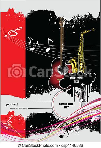 Broschüre, musik, imag, decke. Vektor, gefärbt, decke,... Clipart ...