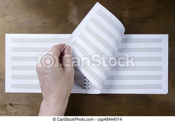 Broschüre, notizen, papier, musik, oder. Hölzern, drehungen ...