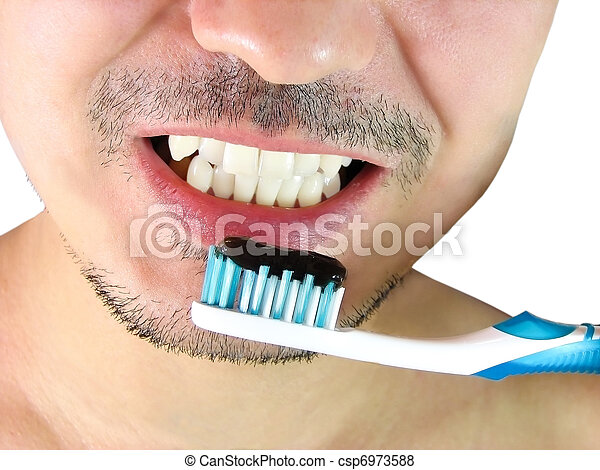 Brossage Bleu Dent Closeup Brossez Dents Homme Brossage