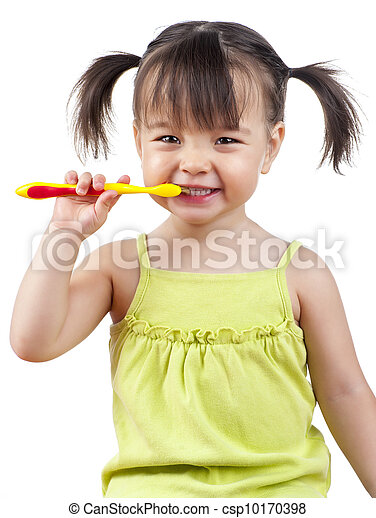 brossage, girl, dents - csp10170398