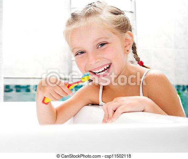 brossage, petite fille, dents - csp11502118