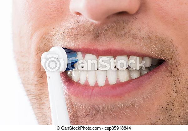 Brosse Dents Homme électrique Dents Gros Plan électrique Jeune