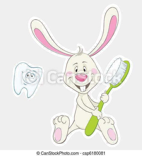 brosse dents, lapin - csp6180081