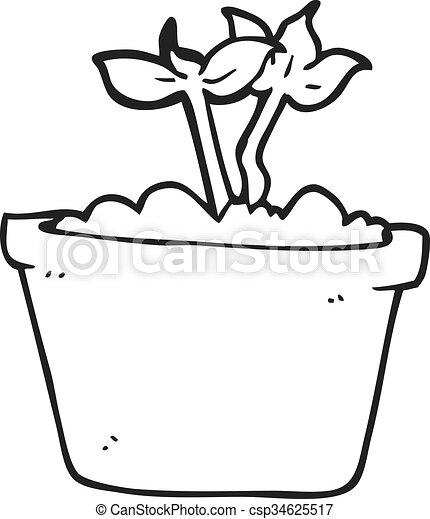 Brotar, planta, negro, blanco, caricatura. Planta, brotar, negro ...