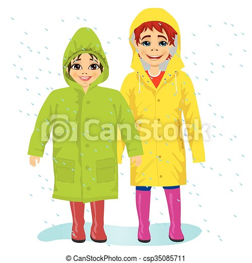 brother and sisiter wearing raingcoats - csp35085711
