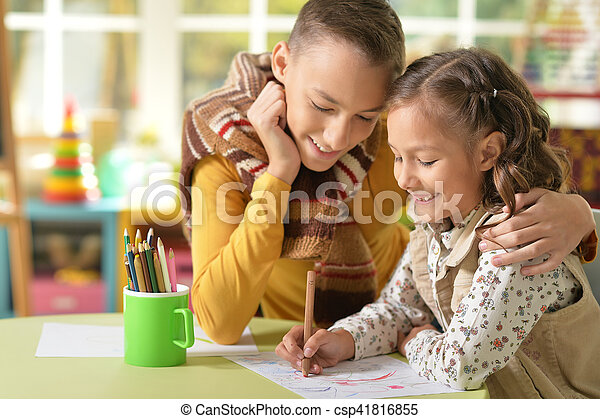 Brother and sister drawing - csp41816855