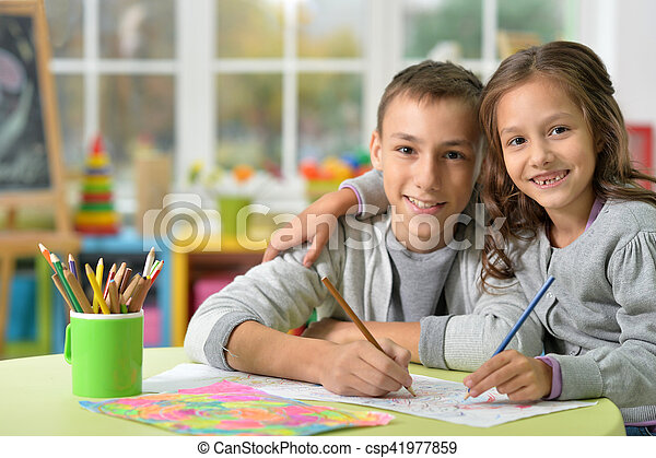 Brother and sister drawing - csp41977859