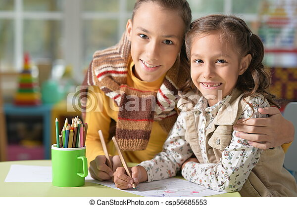 Brother and sister drawing - csp56685553