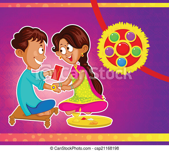 Brother and Sister in Raksha Bandhan - csp21168198
