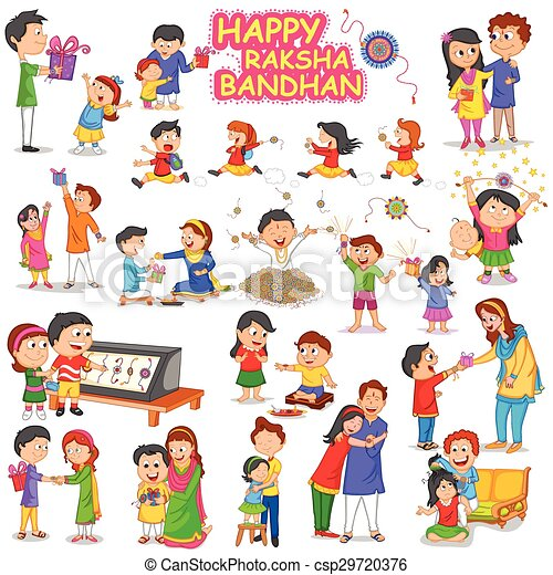 Brother and Sister in Raksha Bandhan - csp29720376