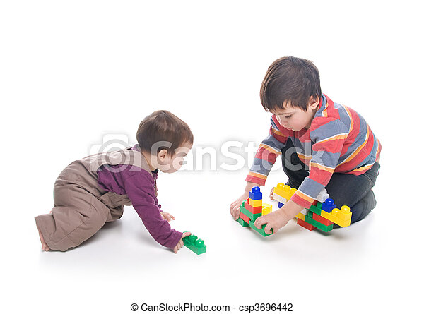 Brother and sister playing together - csp3696442