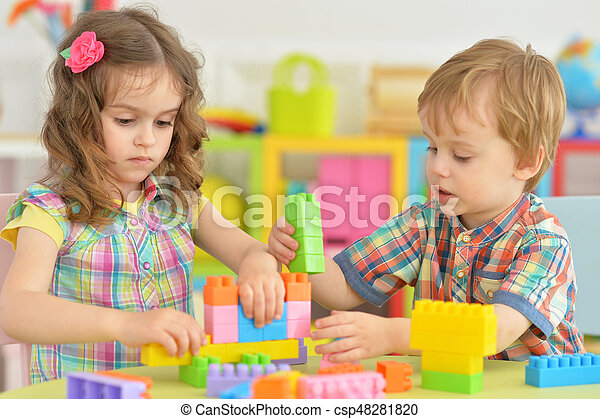 Brother and sister playing together - csp48281820