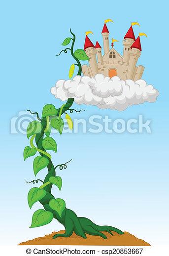 broto, feijão, castelo, caricatura - csp20853667