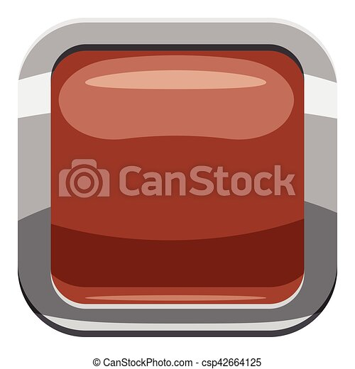 Broun square button icon, cartoon style - csp42664125