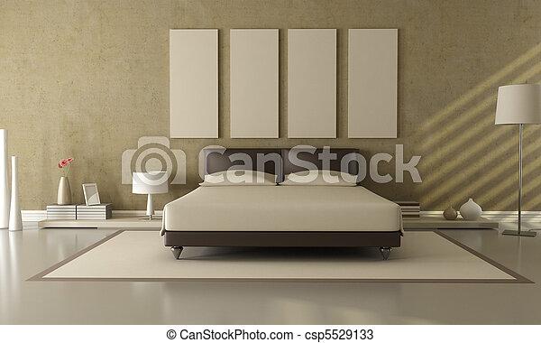 brown and beige bedroom - csp5529133