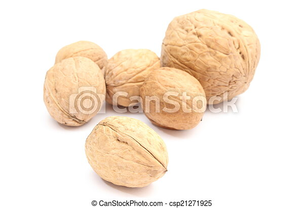 Brown and fresh walnuts on white background - csp21271925