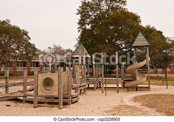 Brown and Green Playground in a Park - csp3328905