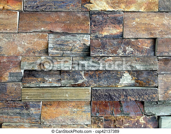 Brown And Grey Stone Wall - csp42137389