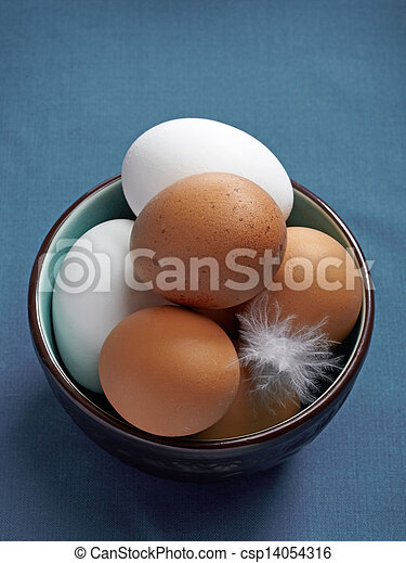brown and white eggs - csp14054316