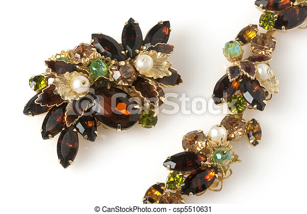Brown antique bracelet and brooch - csp5510631