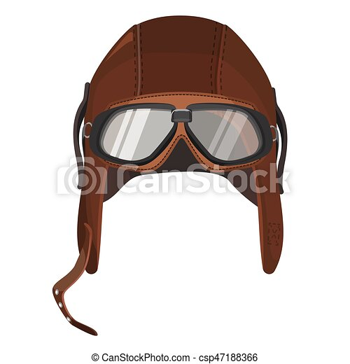 b965fd916b4 Brown aviator hat with goggles isolated on white - csp47188366