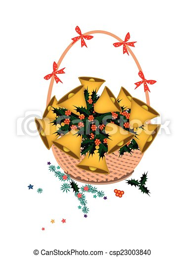Brown Basket of Golden Bell and Christmas Holly - csp23003840