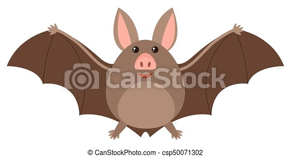 Brown bat with happy face - csp50071302