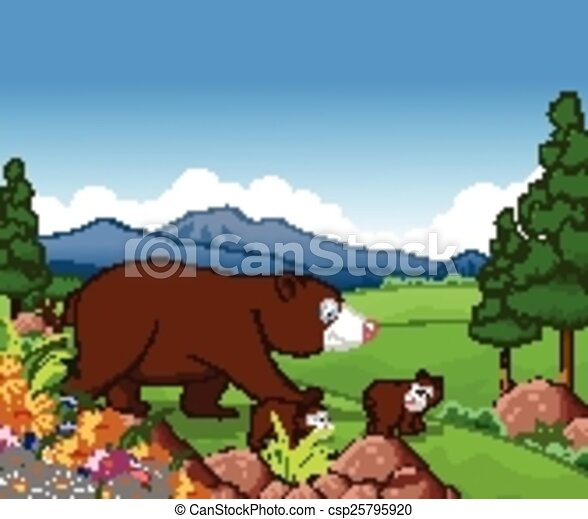 brown bear cartoon - csp25795920