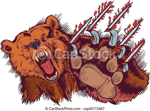 Brown Bear Mascot Slashing or Clawing Vector Cartoon - csp44715467