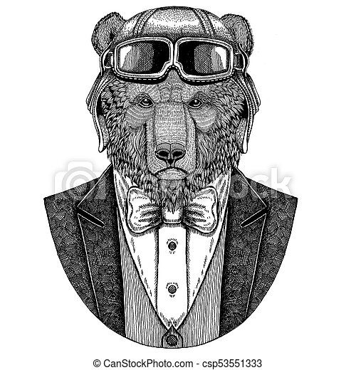 f6e13d2ab Brown Bear Russian Bear Animal Wearing Aviator Helmet And Jacket With Bow  Tie Flying Club Hand Drawn