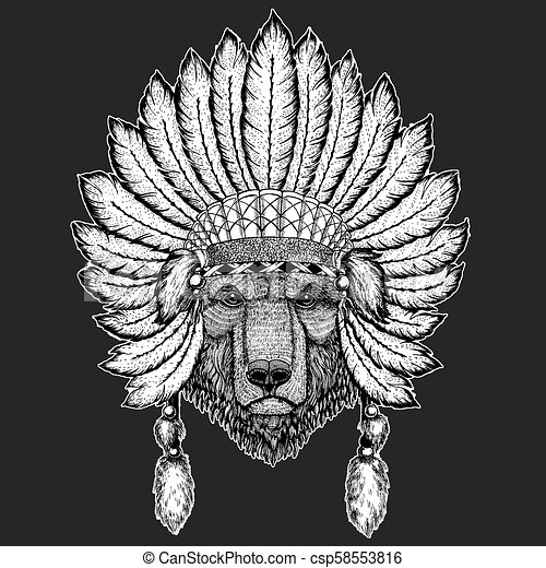 ee1183ccb2708 Brown bear Russian bear Traditional ethnic indian boho headdress Tribal  shaman hat Ceremonial element - csp58553816