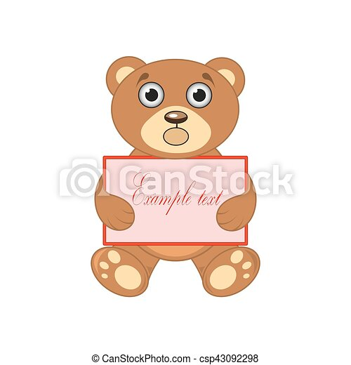 brown bear with a sign on white background - csp43092298