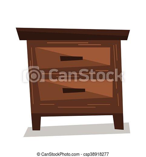 Bedside table clipart  Brown bedside table vector illustration. Brown bedside table ...