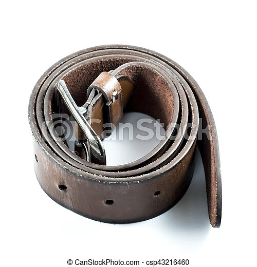 Brown belt islated on the white background. - csp43216460