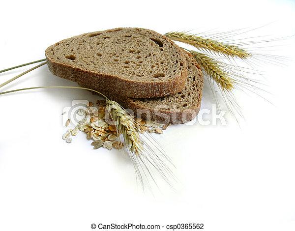 Brown bread, rye ear - csp0365562