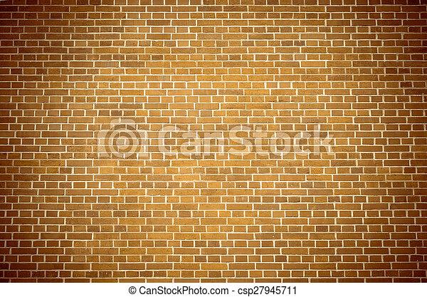 Brown brick block wall pattern 2 - csp27945711