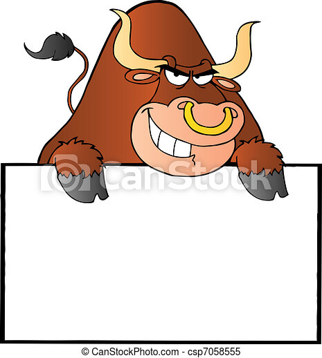 Brown Bull And Blank Sign - csp7058555
