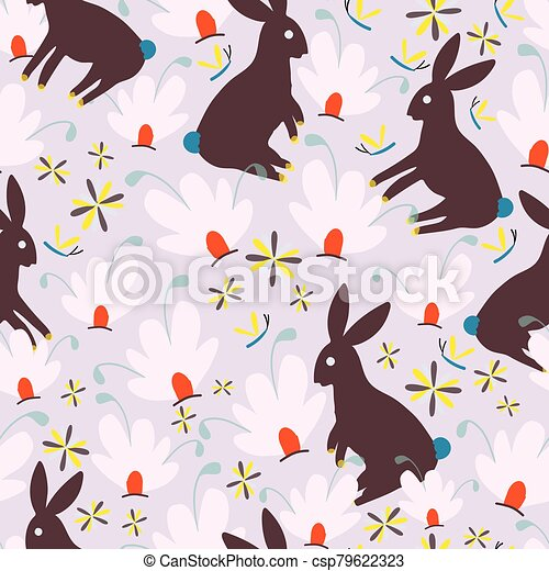 Brown bunnies and pink whimsical flowers seamless pattern background design. - csp79622323
