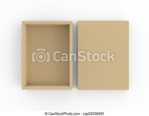 Brown cardboard box mockup, blank box template with separate lid in ...