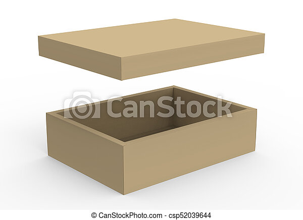 Brown Cardboard Box Mockup Blank Template With Floating