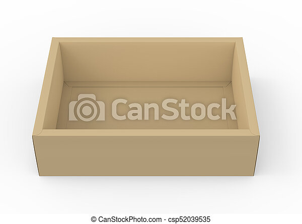 brown cardboard box mockup blank box template without lid in 3d