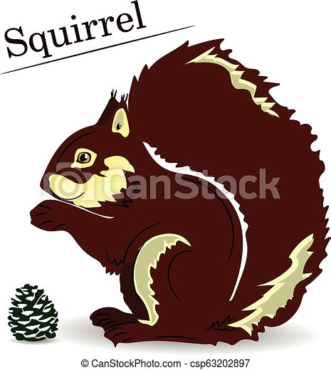 Brown cartoon squirrel on a white background, object for design, - csp63202897