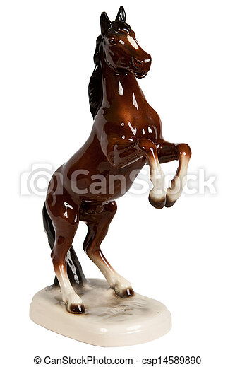 brown ceramic figurine of a horse - csp14589890