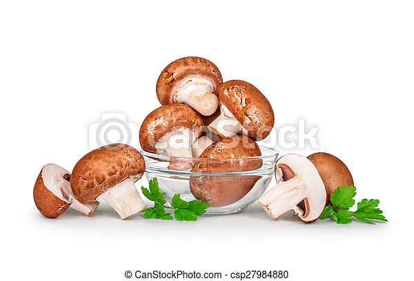 brown champignons  mushrooms in a glass bowl isolated on white background - csp27984880