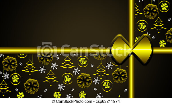 Brown christmas background with golden hanging ornaments and snowflakes gift looking - csp63211974