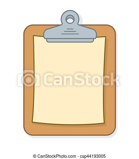 brown clipboard with sheet of blank paper for your list or message