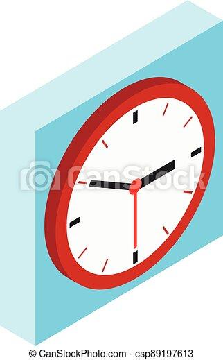 Brown clock icon, isometric style - csp89197613