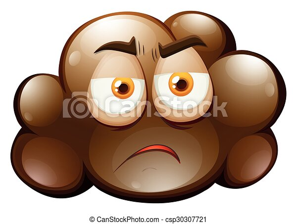 Line Drawing Of Sad Face : Brown cloud with sad face illustration vector