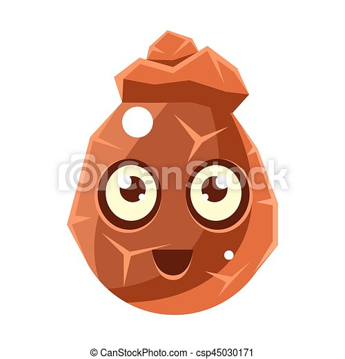 brown cracked rock element egg shaped cute fantastic character with